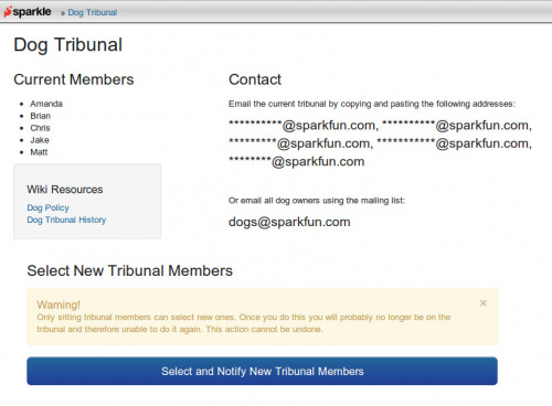 The Dog Tribunal page in Sparkle, where dog management is somewhat automated