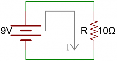 Simple circuit: 9V battery connected to 10Ω resistor