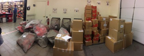 All outgoing packages, not including USPS, around 5PM on December 2, 2013