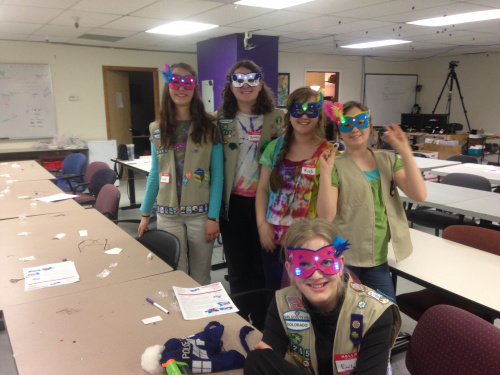 Group of Masked Girl Scouts