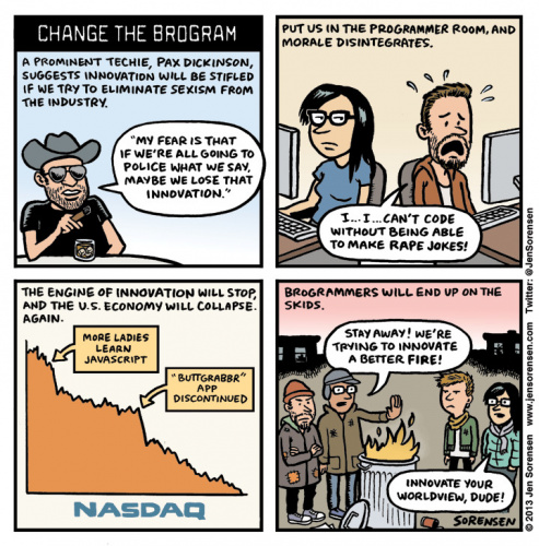 Jen Sorensen's take on brogrammer culture. Don't be that guy.