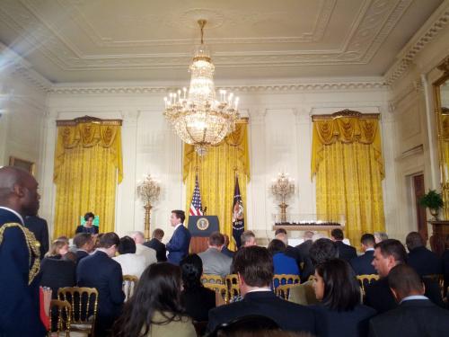 Empty podium and waiting room
