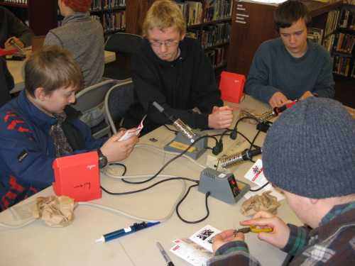 Students soldering