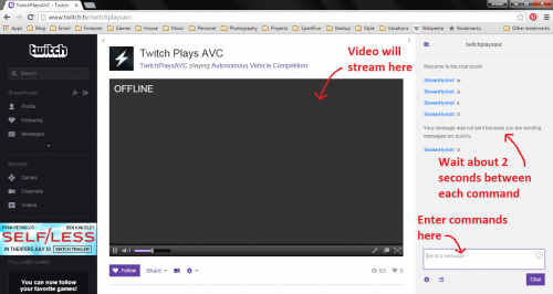 Twitch Plays AVC channel page
