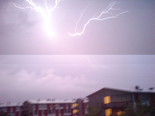 Picture showing a partial exposure of a lightning strike