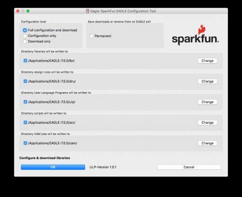 SparkFun EAGLE Configuration Tool Dialog