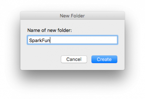 New directory dialog box