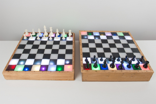 Photo of both connected chess boards lit up