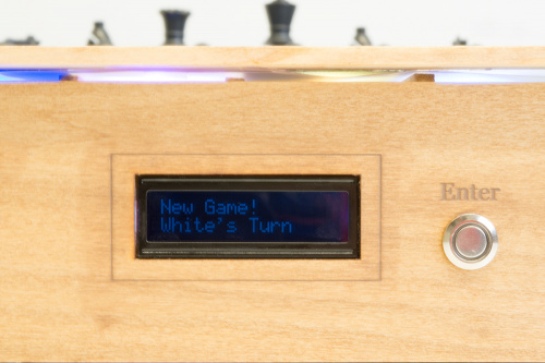 Close up photo of the LCD screen on the connected chess board