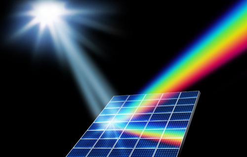 solar panel emitting rainbows