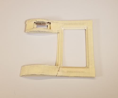 Buck for the bezel made from chipboard and masking tape
