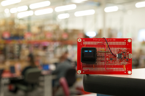 A picture of the sensor display in our production area