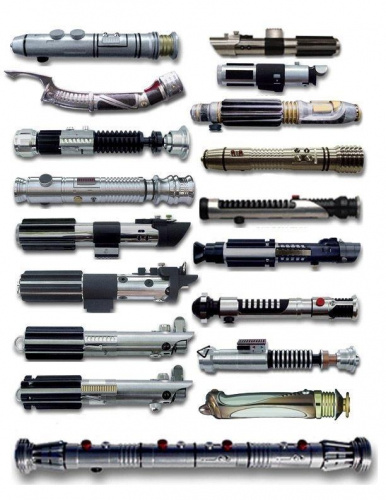 an assortment of lightsaber hilts