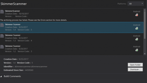 Screenshot of Visual Studio illustrating the archive menu