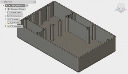 screenshot of a 3D model in Autodesk Fusion 360. The model is of a tray  with removable dividers
