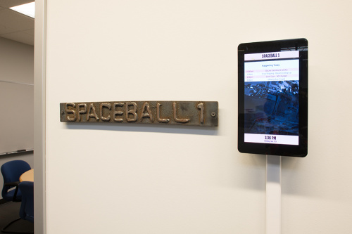 a photo of the conference room sign for our room named Spaceball One