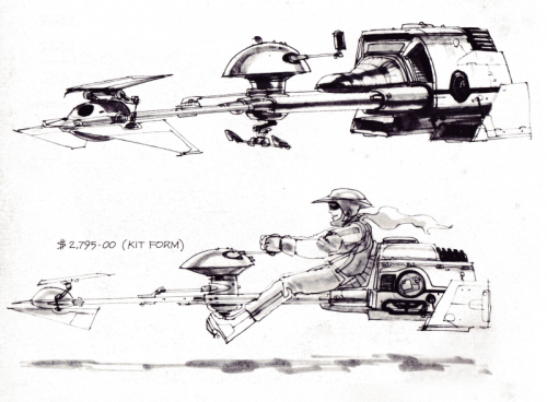 Concept art of the Star Wars Speeder Bike