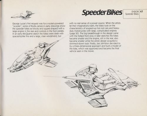 Early concept art of the Star Wars Speeder Bike from Ralph McQuarrie