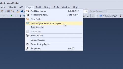 reconfigure start project