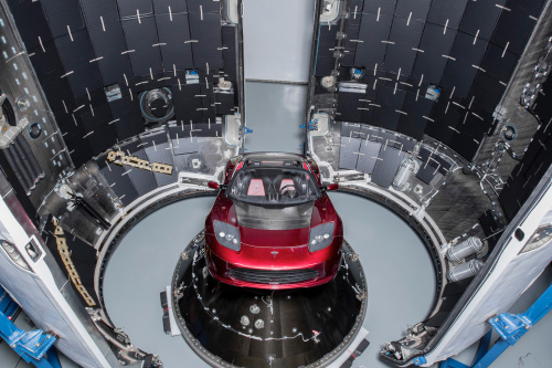 Elon's Tesla Roadster installed in the Falcon Heavy