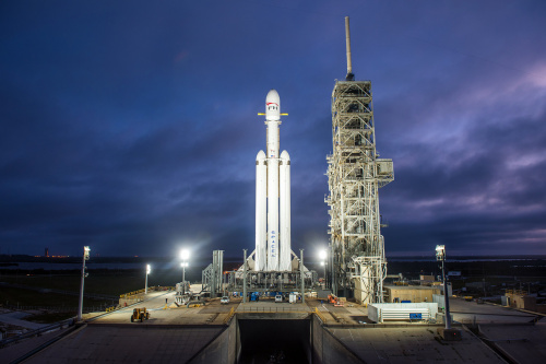 Falcon Heavy at night