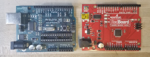Side by side comparison of a very old Arduino NG and a modern RedBoard showing the difference between imported raster fonts and the default vector font