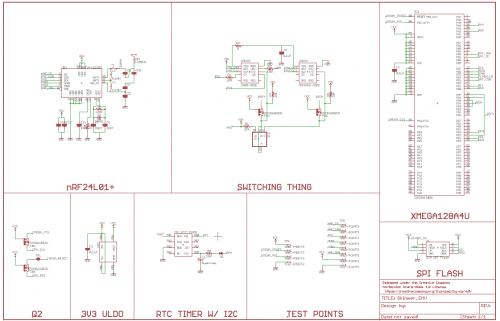 An EAGLE schematic sheet shows all of the connections traced from the shimmer, the 8 subsystems are labeled: XMEGA128A4U, Switching Thing, nRF24l01+, Q2, 3V3 ULDO, RTC Timer w/ I2C, Test points, and SPI Flash.