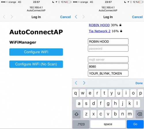 WiFi Manager Configuration Page