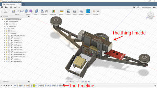 Screen shot of the virtual build in Fusion 360