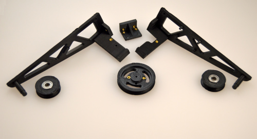 The 3D printed parts, with hardware installed