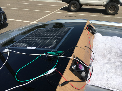 Solar fans setup on the roof of my car