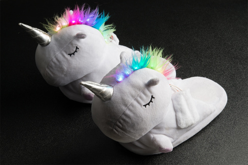 unicorn slippers with rainbow led mohawks