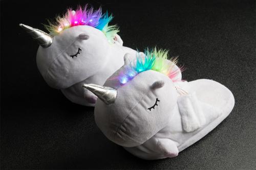 unicorn slippers with rainbow led mohawks