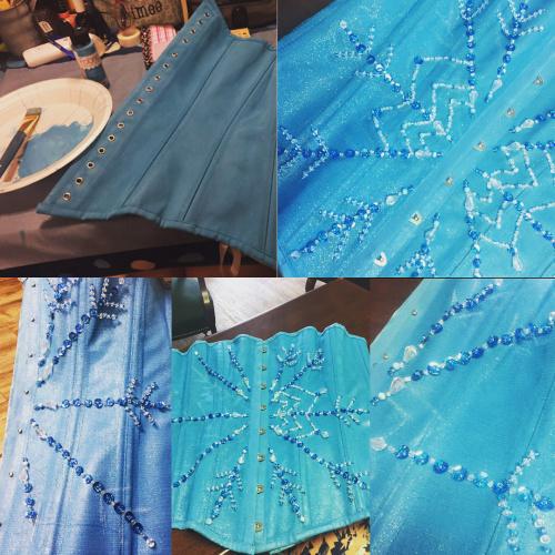Beading details on Elsa costume