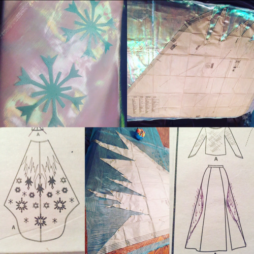 Collage of sketches and patterns for Elsa's costume
