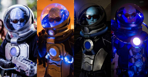 Photos of four of Rob's Mr Freeze costumes side by side