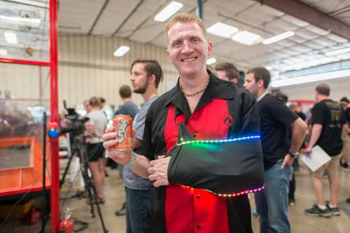 Our newest creative tech, Rob, showing off his LED additions to his arm sling