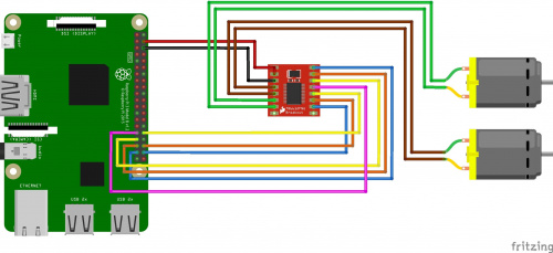 Fritzing diagram of RasPi, TB6621 Motor Driver and two gearmotors.
