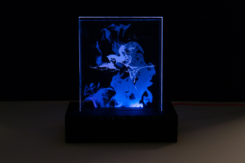 Static image of bird and patronus mist lit up in blues