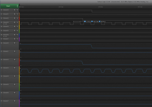 This is screen shot of the logica analyzer display a 38kHz wave.