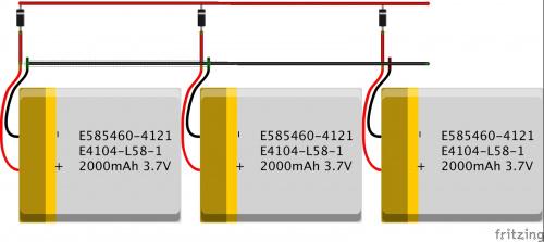 Batteries in parallel.