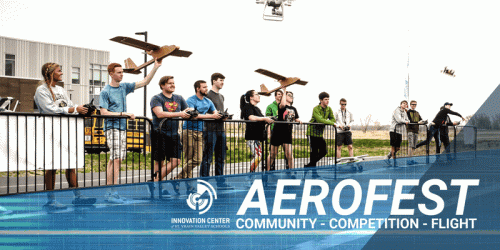 Aerofest banner add showing a bunch of pilots launching their DIY aircrafts at the runway together