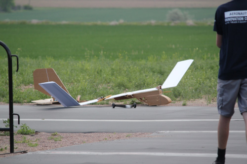 The big one after touchdown shoing a close up of the landing gear ripped off