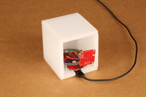 This is the image of the backside of the nighlight cube with electronics inside.
