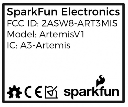 SparkFun Artemis shield label v1