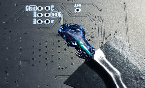 Hotglue reinforcing solder connection