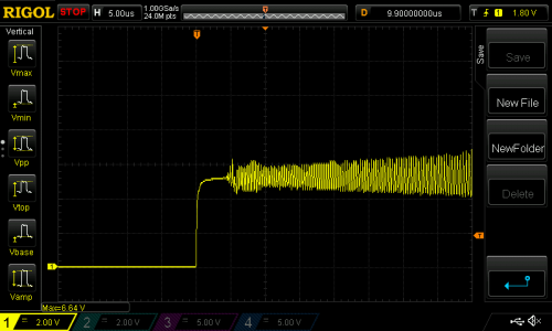 Oscilloscope trace of VUSB without bypass capacitors