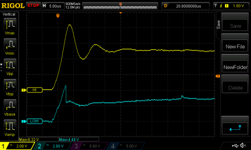 Oscilloscope traces on the high side and low side of the 10 ohm resistor