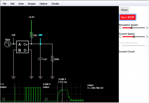 falstad circuit simulator for RC filter on LED driver output