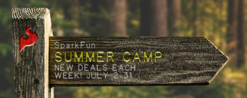 Wooden trail sign with SparkFun Summer Camp and deal dates